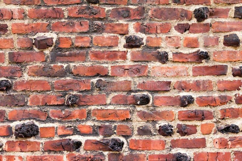 老红砖墙壁背景纹理 免版税库存照片