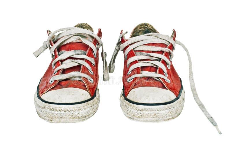 老红色减速火箭的运动鞋 免版税库存照片