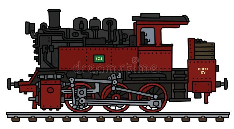 老红色煤水柜机车机车 向量例证