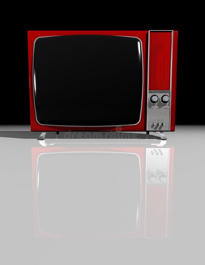 老红色电视电视 免版税图库摄影