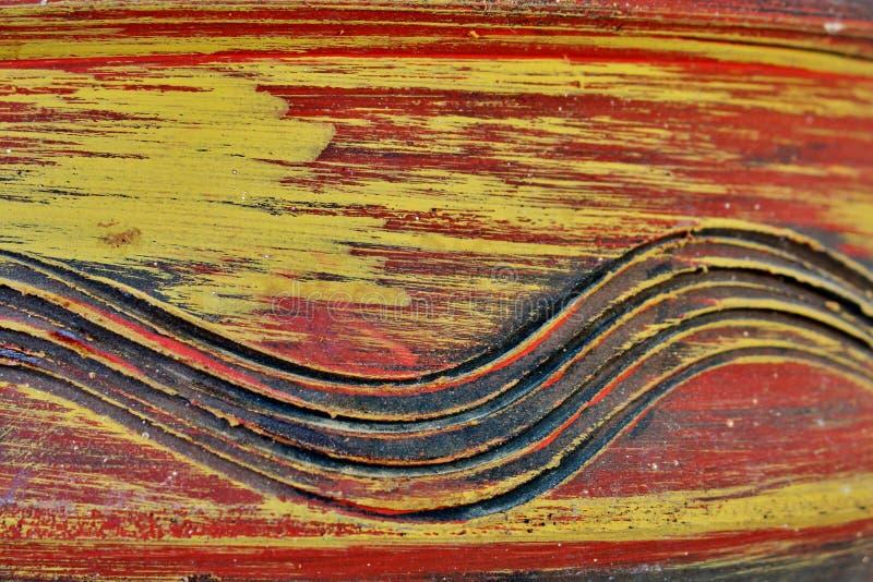 老红黄色木头背景与样式的 免版税库存图片