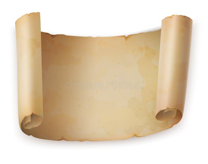 老纸卷卷或葡萄酒羊皮纸,古老纸 皇族释放例证