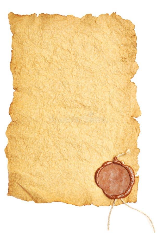 老纸密封蜡 库存图片