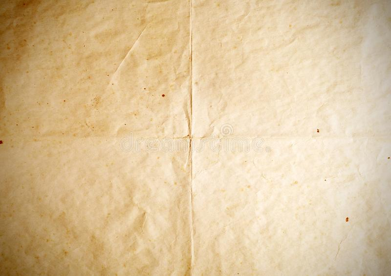 老纸折叠纹理,葡萄酒背景 库存照片