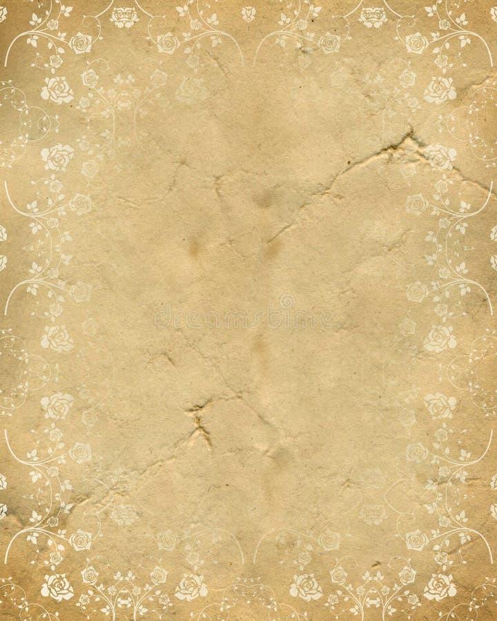 老纸模式玫瑰色纹理 免版税库存图片