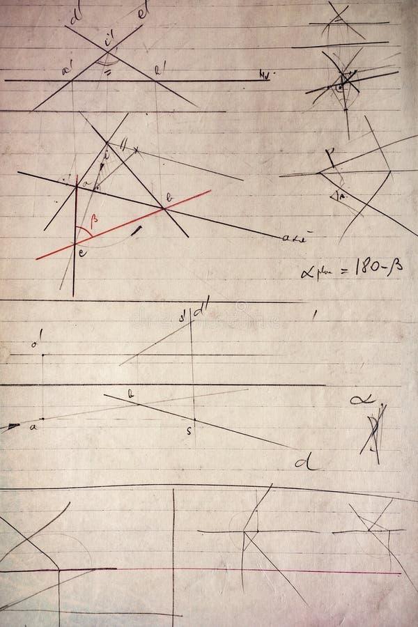 老纸片与几何图画的 免版税库存图片