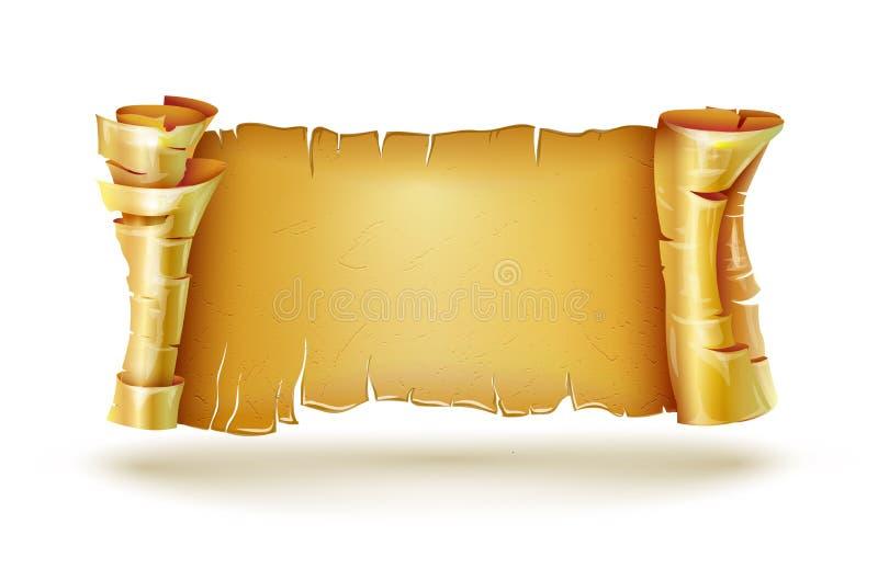 老纸纸卷古董原稿捆绑横幅 皇族释放例证