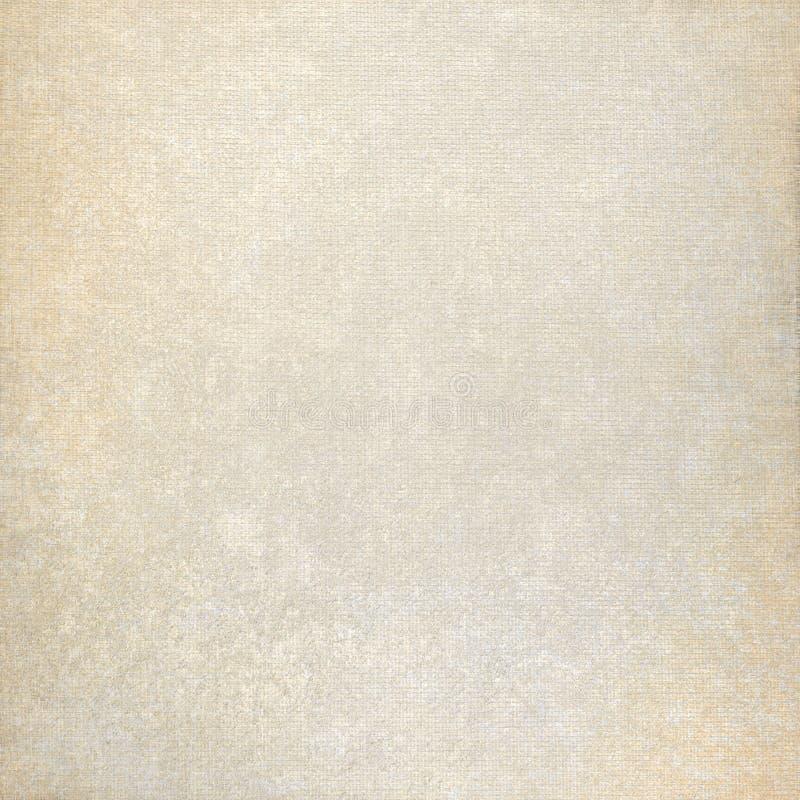 老纸背景和与微妙的污点的米黄织品帆布纹理 库存图片