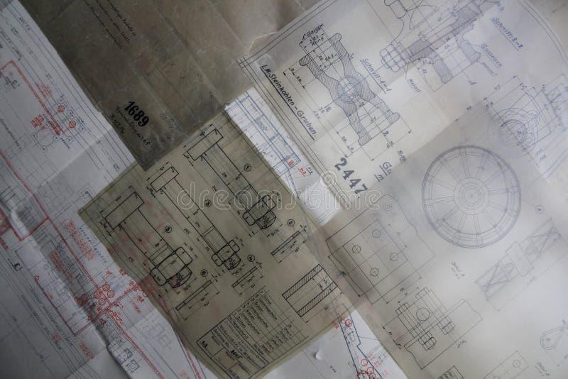 老纸建筑计划 图库摄影