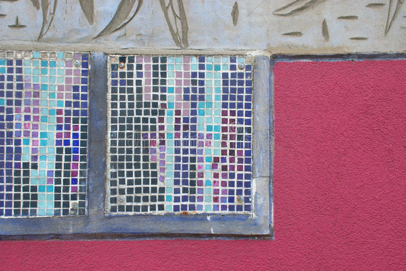 老纹理马赛克墙壁 免版税库存图片