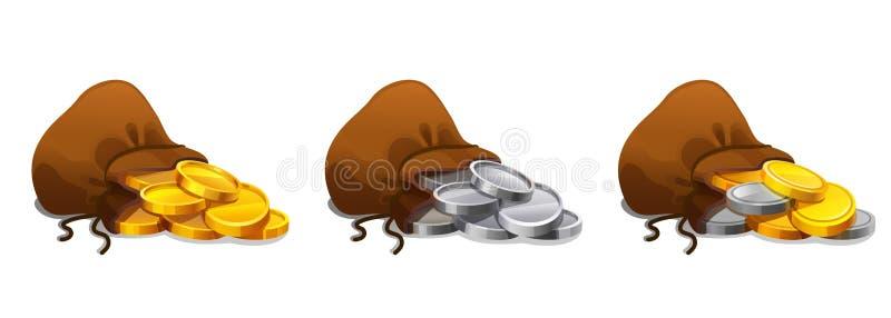 老纺织品大袋钱包设置与金和银币 与金和银币的前妻 在白色背景设置的金钱袋子 皇族释放例证
