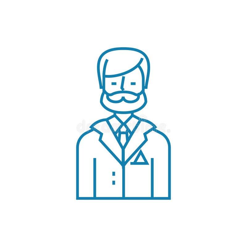老练的专家线性象概念 老练的专家线传染媒介标志,标志,例证 向量例证