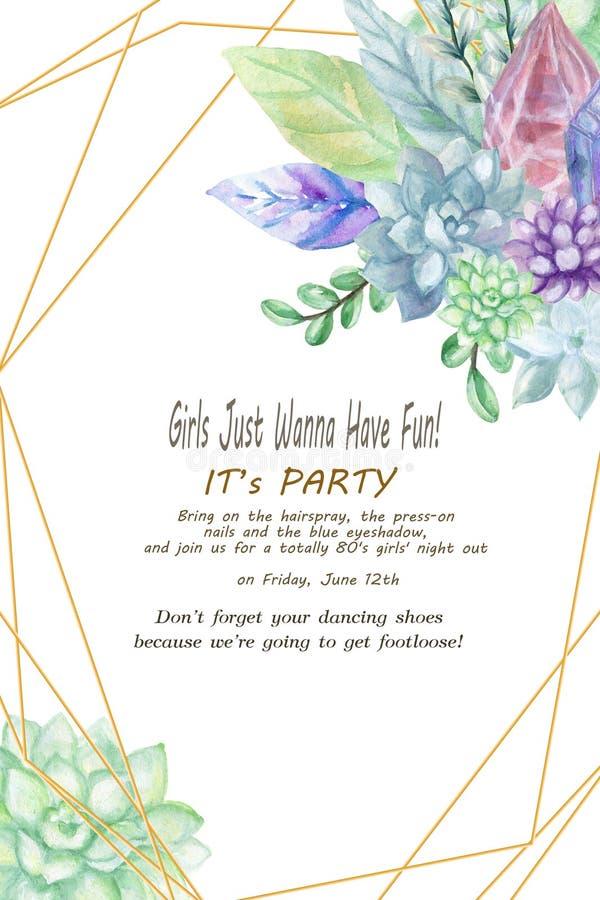 老练&典雅的多汁植物和叶子婚礼与水晶宝石和石头的混合的邀请设计 库存例证