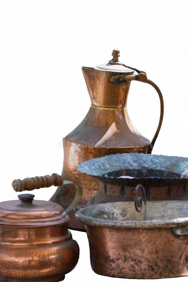老罐和平底锅 免版税库存图片