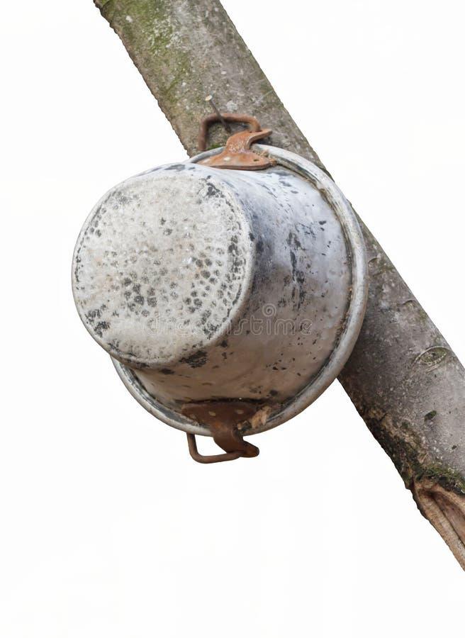 老罐和平底锅 库存图片