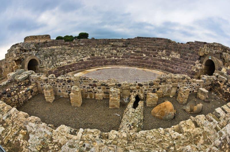 老罗马市废墟娜拉,撒丁岛的海岛 库存图片