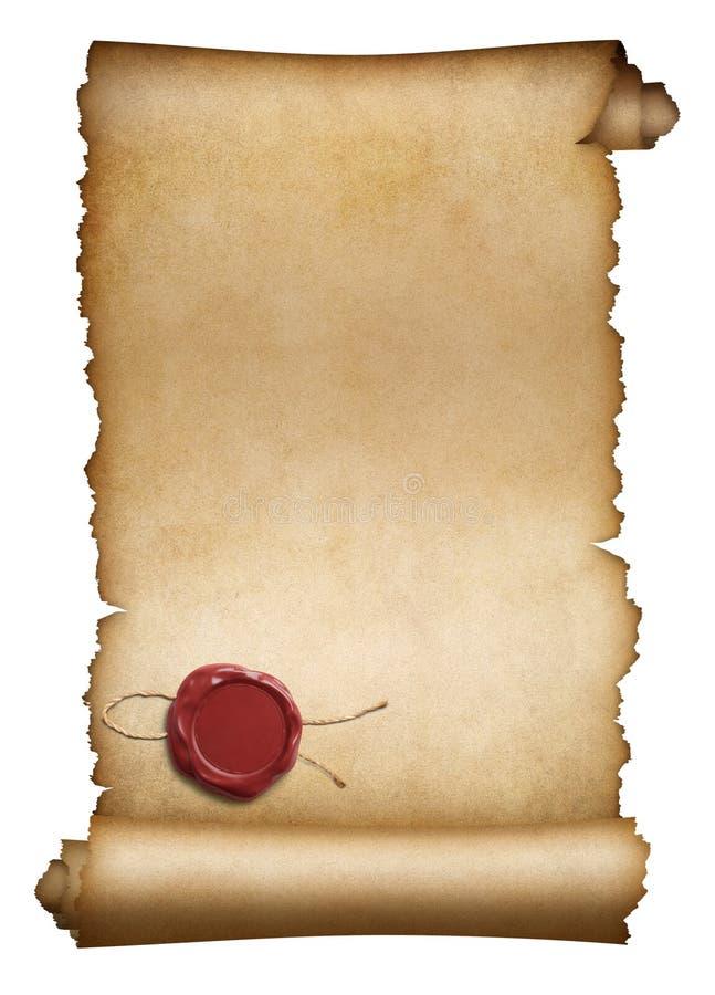 老羊皮纸或原稿与红色蜡封印 免版税库存图片