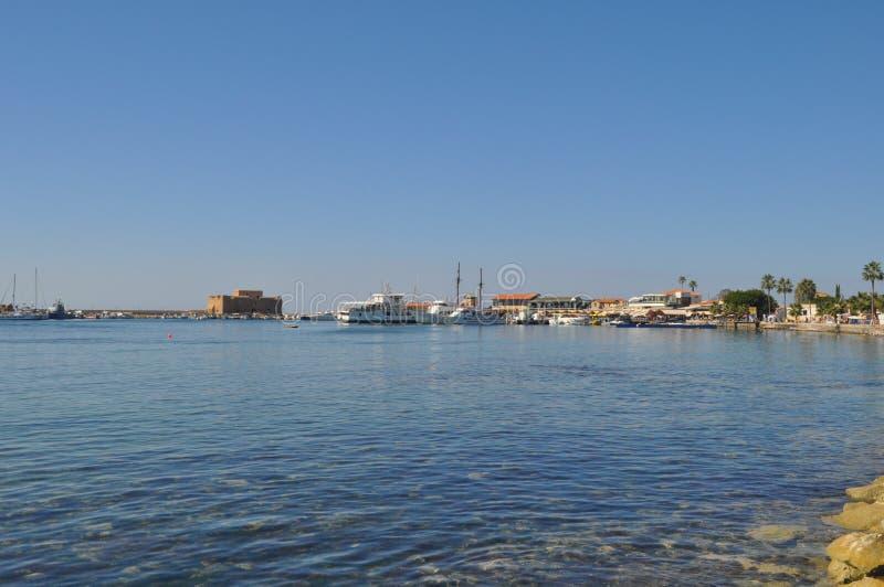 老美丽的口岸, Pafos城堡在塞浦路斯 库存图片