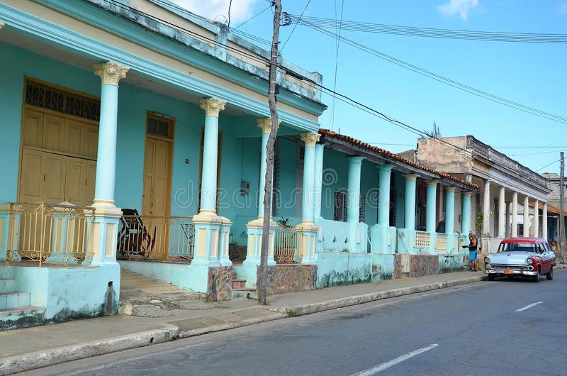 老美国汽车在Pinar del RAoo,古巴 免版税库存照片