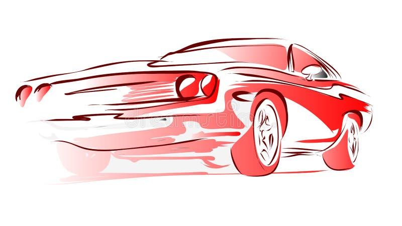 老肌肉汽车,传染媒介概述色的剪影 库存例证