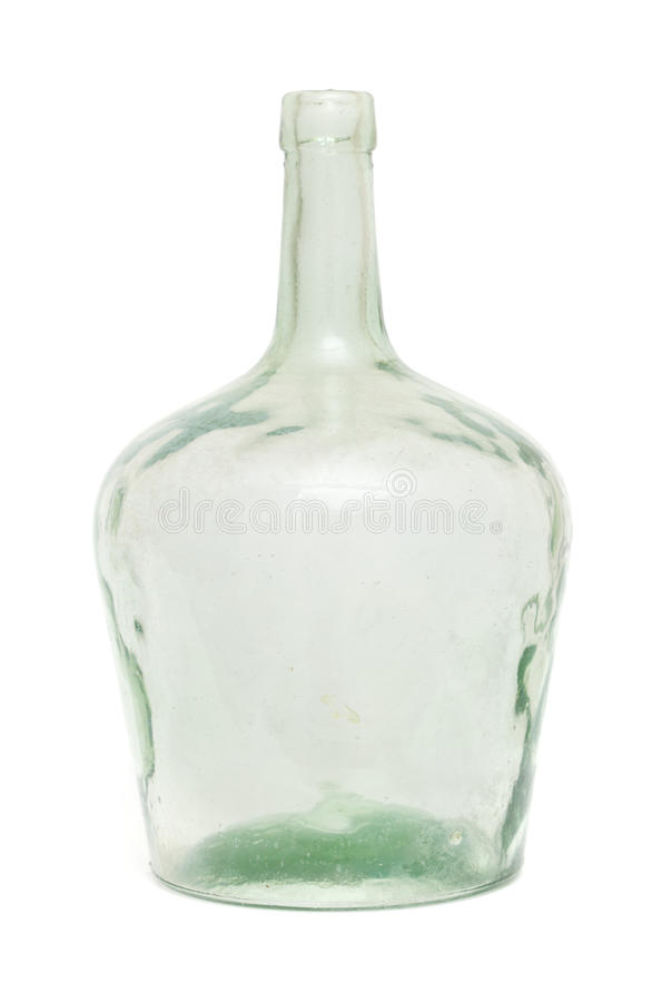 老肮脏的绿色玻璃瓶 库存图片