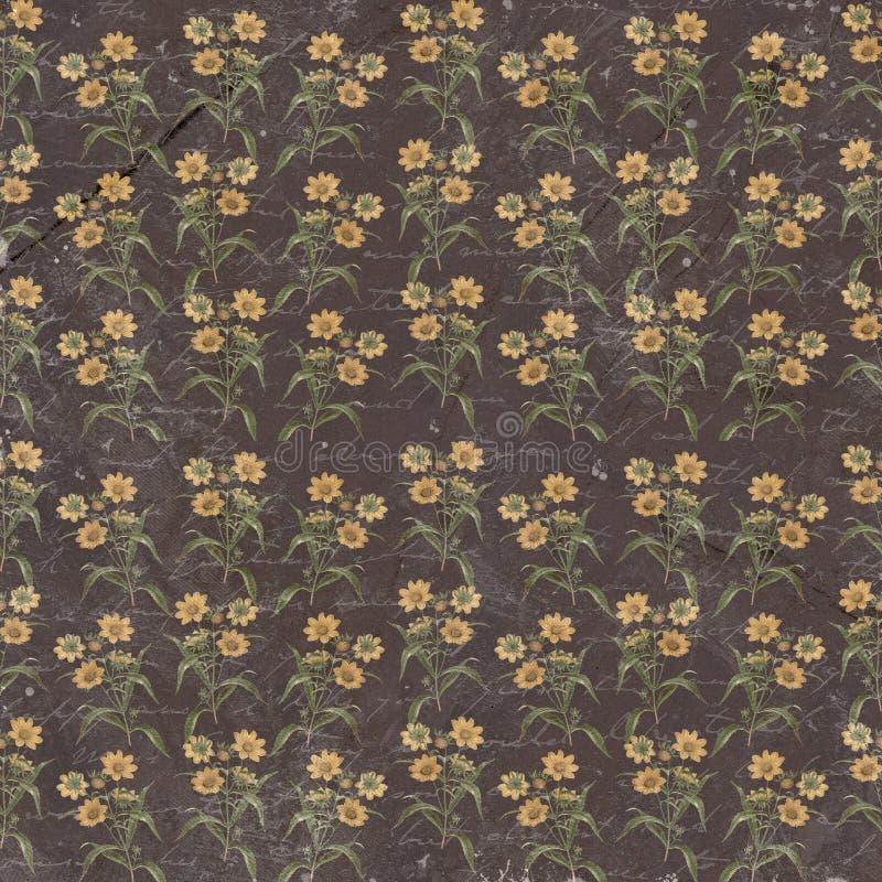 老脏的花卉纸墙纸 免版税库存图片