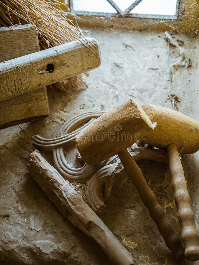 老自制木锤子,短槌 免版税库存照片