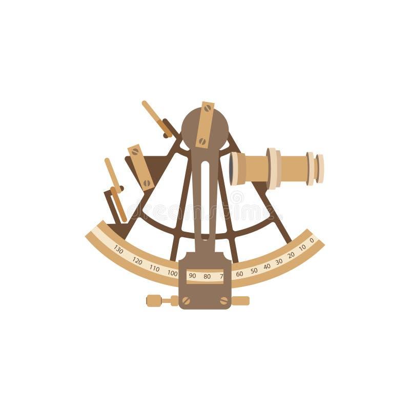 老船六分仪 在一个平的样式的传染媒介例证 向量例证
