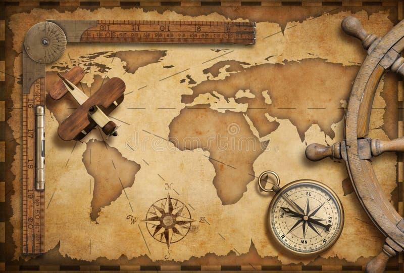 老船舶地图静物画当冒险、旅行和探险题材 皇族释放例证