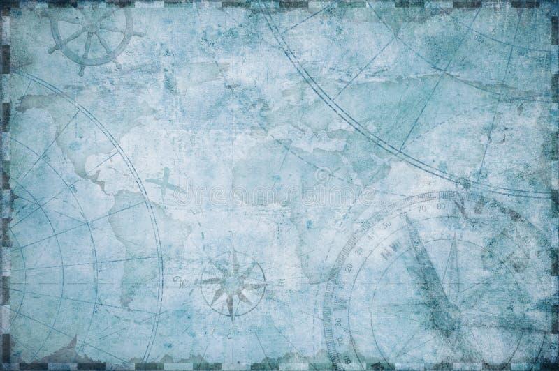 老船舶珍宝地图背景 库存例证