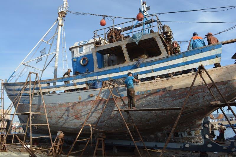 老船,索维拉,摩洛哥港  免版税库存照片