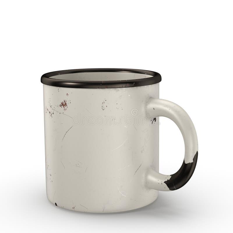 老苏维埃上釉的杯子白色颜色 库存例证