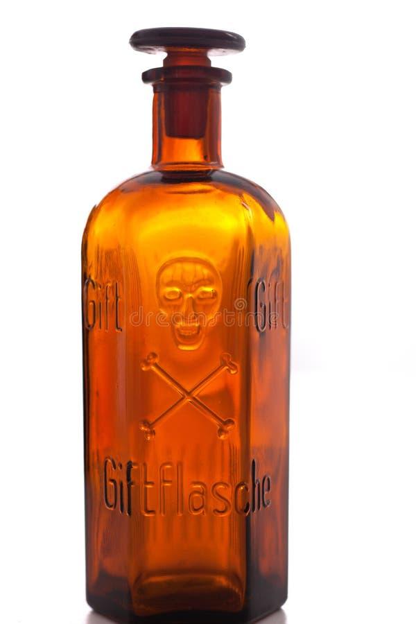 老药房瓶明显的毒物 库存图片