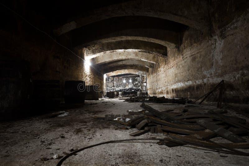 老葡萄酒库的内部,桶 免版税库存图片
