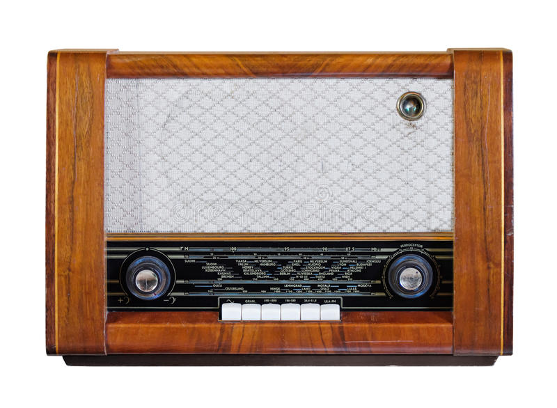 老葡萄酒收音机 库存照片