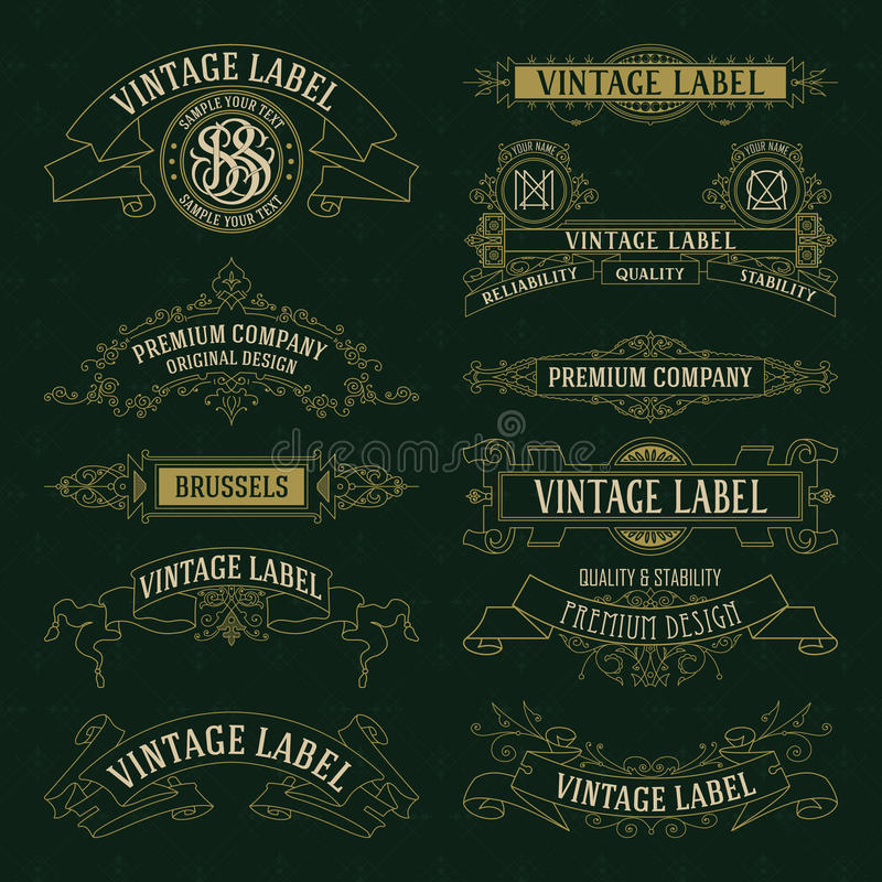 老葡萄酒花卉元素-丝带,组合图案,条纹,线,角度,边界,框架,标签,商标 向量例证