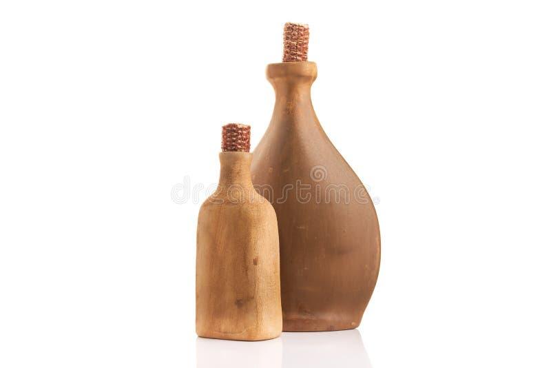 老葡萄酒黏土酒瓶 免版税库存图片
