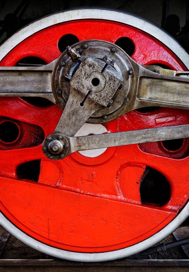 老蒸汽机车红色轮子 免版税库存图片