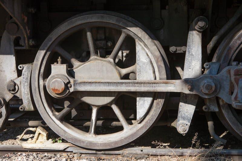 老蒸汽机车轮子 免版税图库摄影