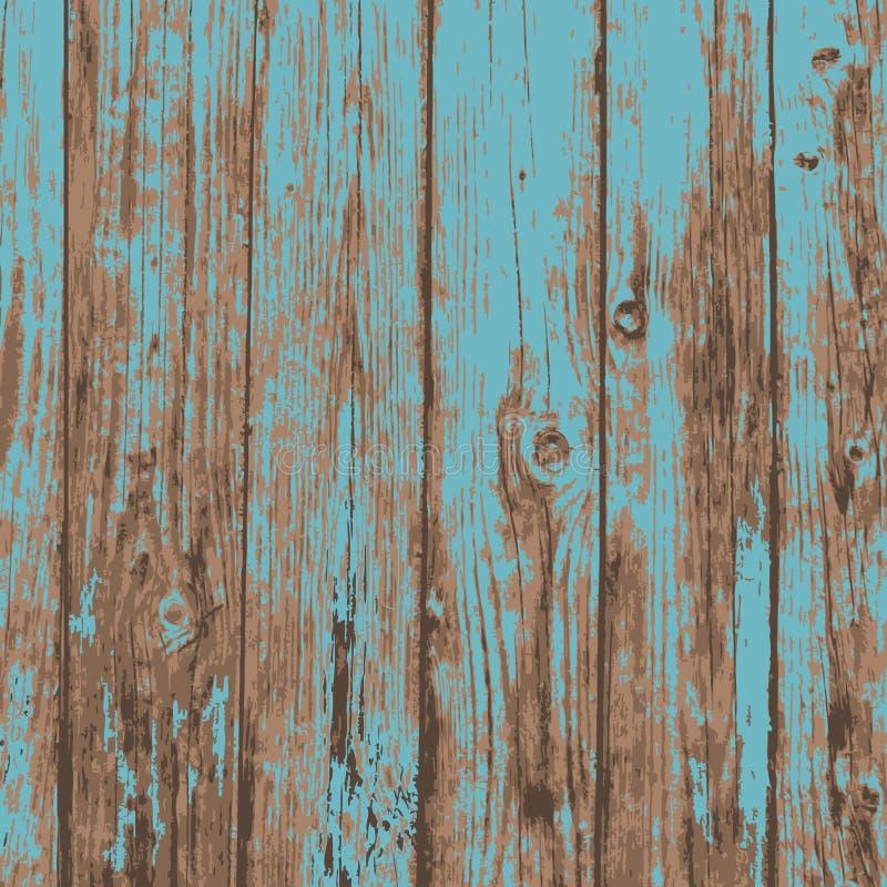老蓝色现实板条木纹理背景 向量例证