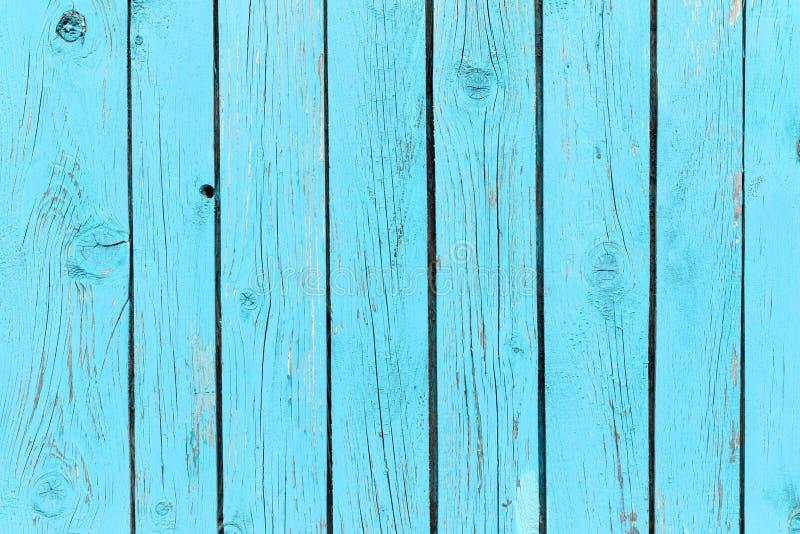 老蓝色绘了木墙壁-纹理或背景 免版税库存照片