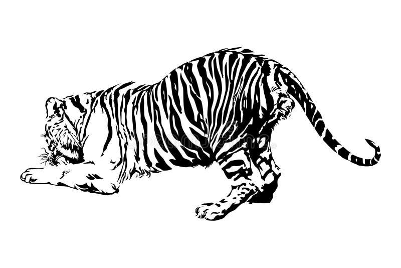老虎享受吃 库存例证