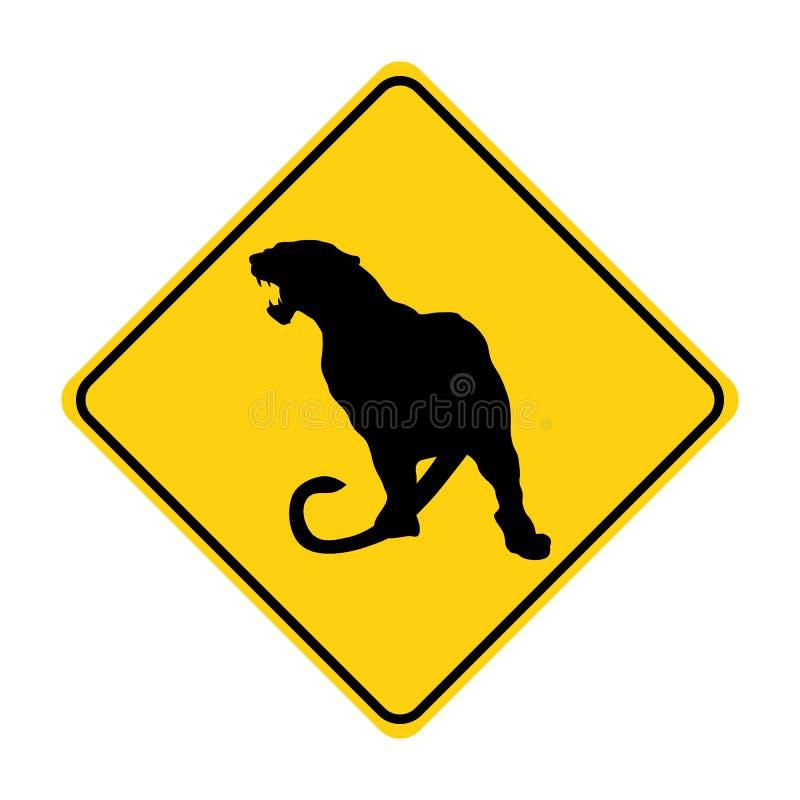 黄色片和动物干_老虎剪影动物交通标志黄色传染媒介. 旅途, 安全性.