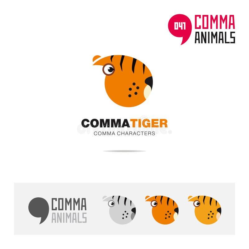 老虎动物概念象集合和现代品牌身份商标模板和根据逗号的app标志签字 向量例证