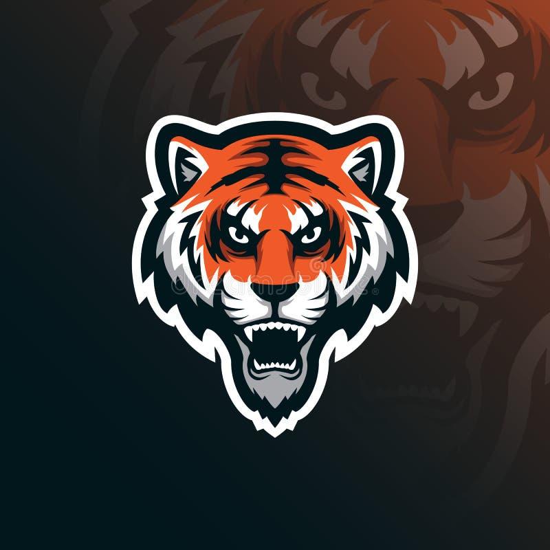老虎吉祥人商标与现代例证概念样式的设计传染媒介徽章、象征和T恤杉打印的 恼怒的老虎 库存例证