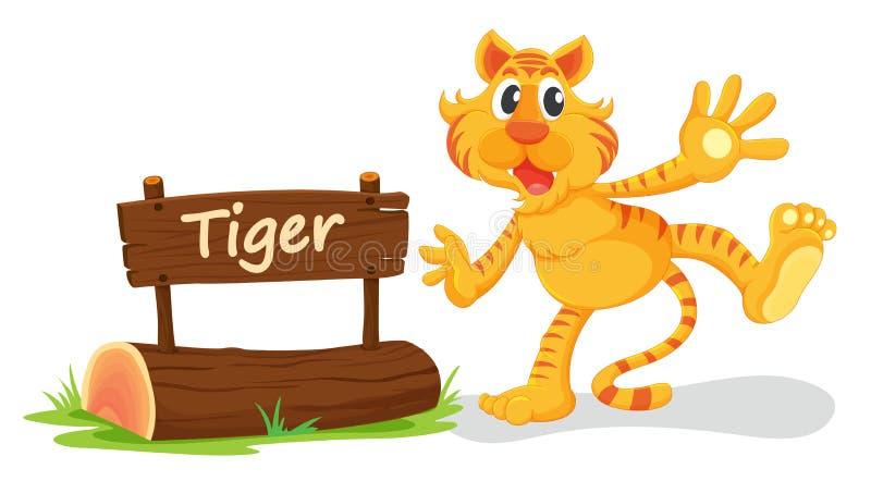 老虎和名字板极 库存例证