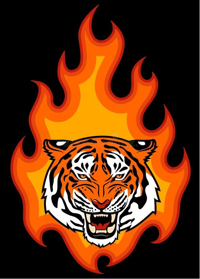 老虎和火 向量例证