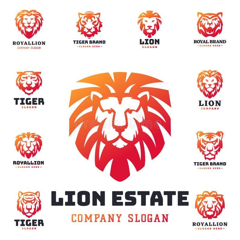 老虎和狮子面对商标徽章力量食肉动物的力量不可靠的传染媒介例证 向量例证