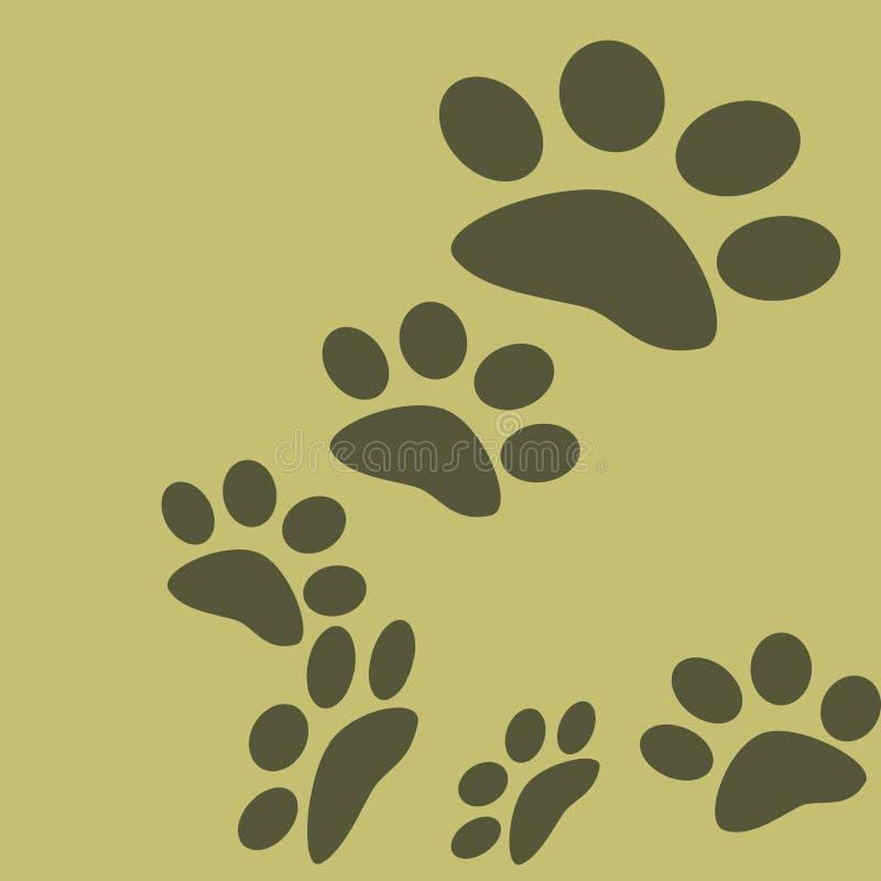老虎哈巴狗标记在森林里 向量例证