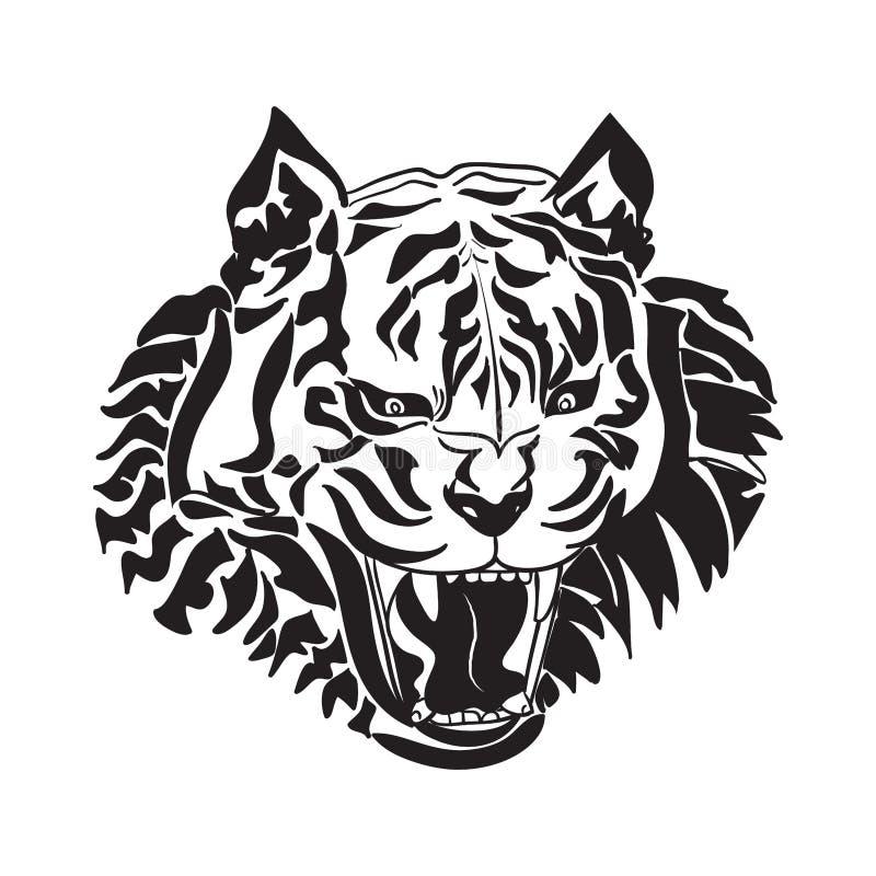 老虎头线艺术在白色背景的 库存例证